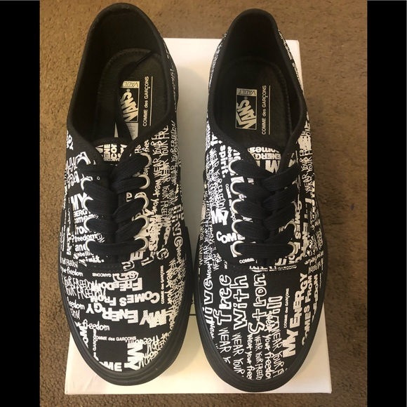 bc7cc99ee3 CDG x Vans authentic black message shoes. NWT. Comme des Garcons